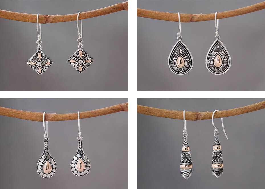 Zilveren oorbellen met goud