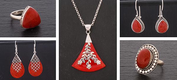 Zilveren koraal sieraden