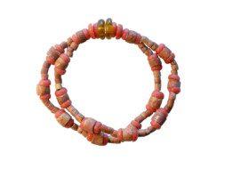 Ghanese armband van bauxiet en glaskralen
