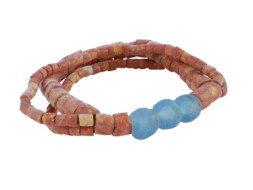 Ghanese bauxiet kralen armband met glaskralen