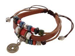 Tibetaanse leren armband met verschillende gekleurde kralen en een Tibetaanse munt