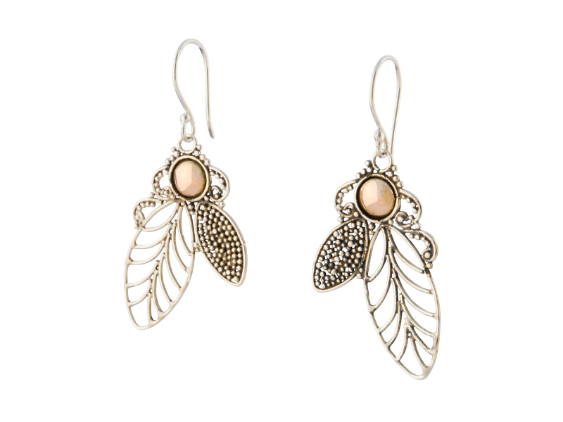 Balinese zilveren oorhangers met accenten van goud