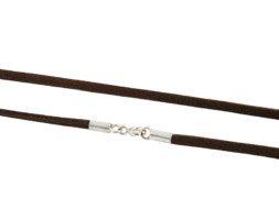 Bruin ruw lederen ketting met zilveren sluiting