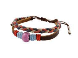 Tibetaanse leren armband met touw en kraal