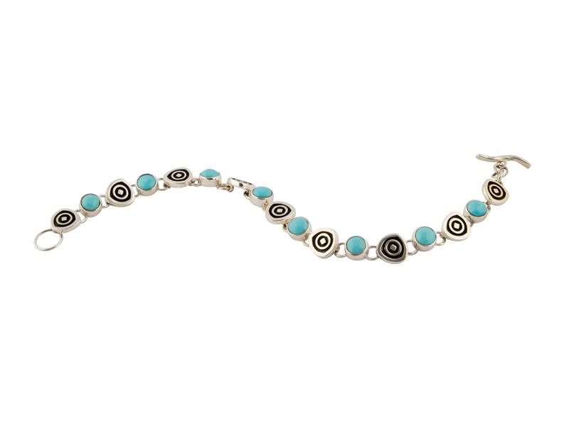 Mexicaans zilveren armband geoxideerde details en turkoois