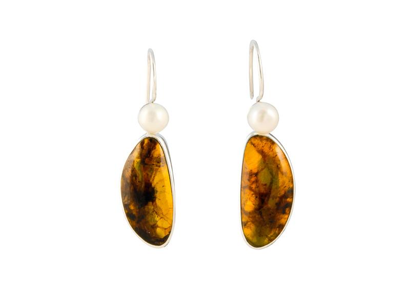 Mexicaans zilveren oorhangers met amber en parel