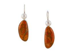 Mexicaans zilveren oorhangers met koraal en parel