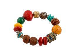 Nepalese kralen armband met bodhi zaden en jakbot