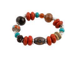 Nepalese kralen armband met koraal, turkoois en jakbot