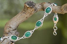 Zilveren armband met groene onyx