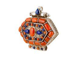 Zilveren gebedsdoosje met koraal en lapis lazuli