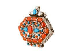 Zilveren gebedsdoosje met koraal en turkoois