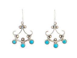 Zilveren indianen oorbellen met turkoois