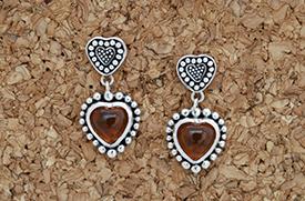 Zilveren oorbellen met amber