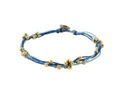 Blauwe armband van gewaxte draden met kralen uit Guatemala