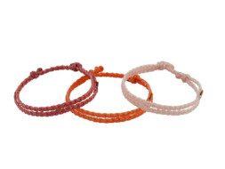 Drie kleuren armbanden van dubbel geknoopt draad Guatemala