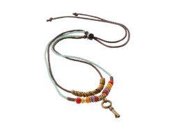 Tibetaanse ketting met kleurrijke kralen en een sleuteltje