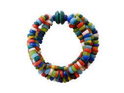 Ghanese glaskralen regenboog armband