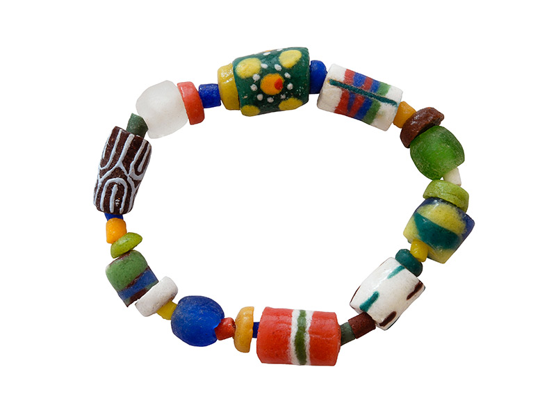 Ghanese kleurrijke glaskralen armband
