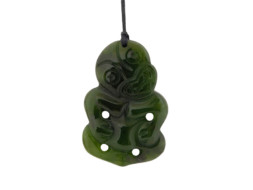 Groene jade Maori Hei Tiki hanger