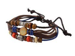 Leren armband uit Tibet met kralen