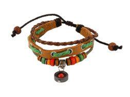 Bruine leren armband uit Tibet met kralen en bedeltje