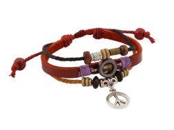 Leren armband met vredessymbool en kralen