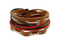 Leren armband uit Tibet met gekleurd touw