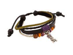 Leren armband uit Tibet met 'LOVE' bedeltje