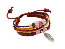 Leren armband uit Tibet met veertje en kralen