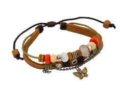 Leren armband uit Tibet met vlindertje