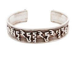 Tibetaanse zilveren armband met Om Mani Padme Hum mantra en dorje symbool