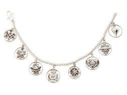 Tibetaanse zilveren armband met de acht heilige symbolen van het boeddhisme