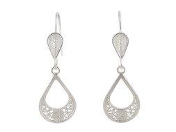 Peruaans zilveren filigrain oorbellen in druppelvorm