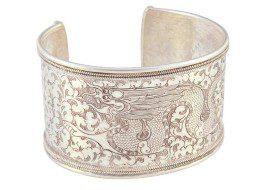 Tibetaanse zilveren armband met gegraveerde draak