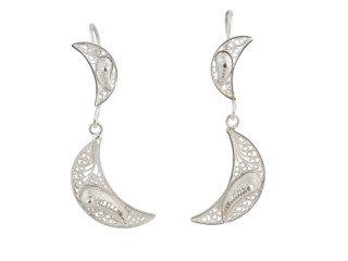 Zilveren filigrain oorbellen uit Peru met halve manen