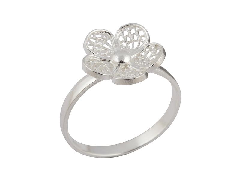 Zilveren filigrain ring uit Peru met bloemetje