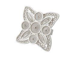Zilveren filigrain ring uit Peru met decoratieve bloem