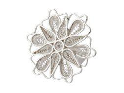 Zilveren filigrain ring uit Peru met grote bloem
