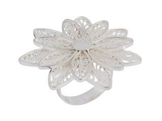 Zilveren filigrain ring uit Peru met zonnebloem