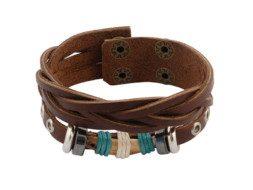 Bruin gevlochten leren armband met stoere houten kraal