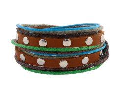 Bruine leren armband uit Tibet met klinknagels en gekleurd touw