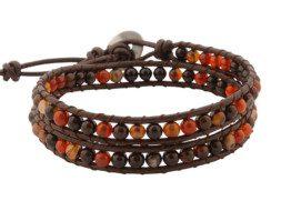 Kralen wrap armband met agaat uit Thailand