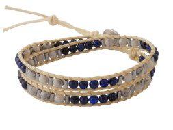 Kralen wrap armband met lapis lazuli en howliet uit Thailand