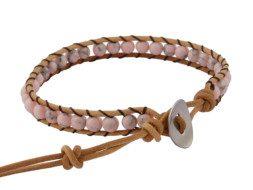 Kralen wrap armband met roze howliet uit Thailand