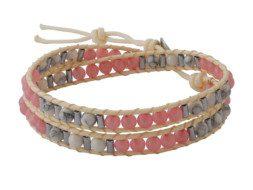 Kralen wrap armband met rozenkwarts en howliet uit Thailand