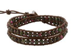 Kralen wrap armband met zoisiet uit Thailand