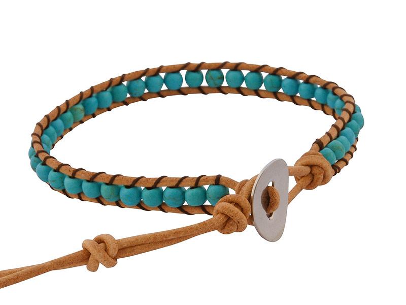 Kralen wrap armband uit Thailand met turkoois