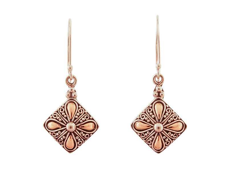 Zilveren oorbellen met accenten van 18 karaats goud