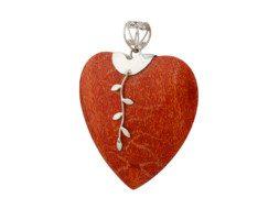 Balinese hartvormige koraal hanger met zilveren decoraties